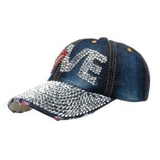 Cincin Stainless Denim Berlian Buatan Topi Baseball Snapback Hip Hop Datar Hat-Intl