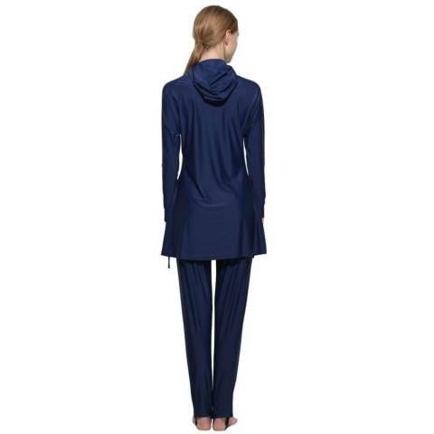 Wanita Plus Ukuran Swimwear Muslim Fashion Muslimah Islam Swimsuit Berenang Surf Wear Sport Pakaian Navy Blue-Intl 2