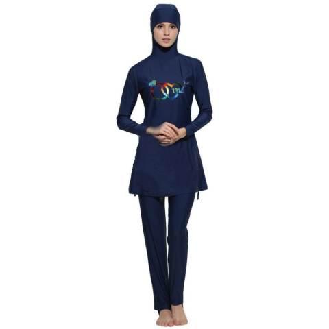 Wanita Plus Ukuran Swimwear Muslim Fashion Muslimah Islam Swimsuit Berenang Surf Wear Sport Pakaian Navy Blue-Intl 1