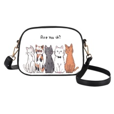 Women PU Leather Lovely Cartoon Animals Printed Shoulder Crossbody Bag(Multicolor) - intl