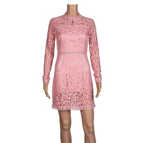 Wanita Sexy Pink Hollow Lace Baju Tipis Lengan Panjang Gaun Pesta Malam-Internasional 5