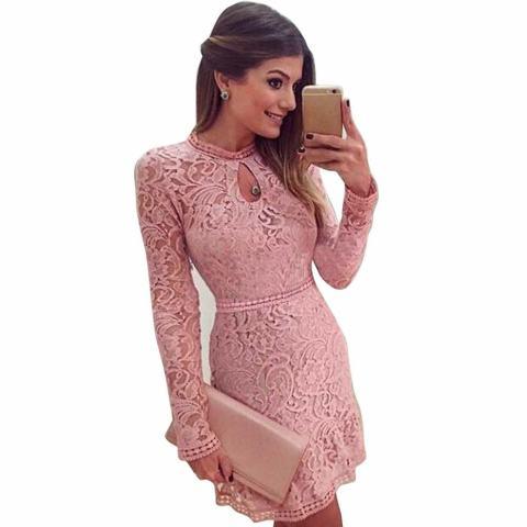 Wanita Sexy Pink Hollow Lace Baju Tipis Lengan Panjang Gaun Pesta Malam-Internasional 2