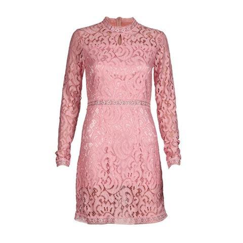 Wanita Sexy Pink Hollow Lace Baju Tipis Lengan Panjang Gaun Pesta Malam-Internasional 4