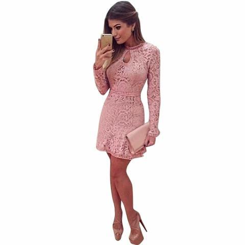Wanita Sexy Pink Hollow Lace Baju Tipis Lengan Panjang Gaun Pesta Malam-Internasional 3