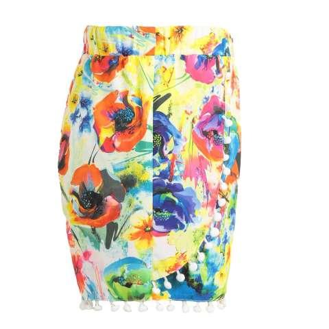 Wanita Celana Pendek Warna-Warni Bunga Cetak Elastis Tinggi Ikat Pom Pom Kaki Lebar Ramping Kasual Pantai Memakai Baju terusan-Internasional 4