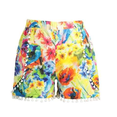 Wanita Celana Pendek Warna-Warni Bunga Cetak Elastis Tinggi Ikat Pom Pom Kaki Lebar Ramping Kasual Pantai Memakai Baju terusan-Internasional 1