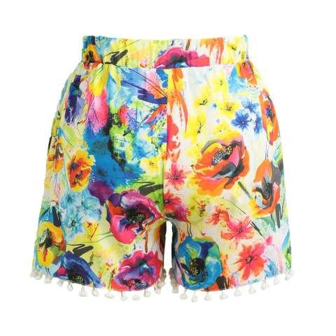 Wanita Celana Pendek Warna-Warni Bunga Cetak Elastis Tinggi Ikat Pom Pom Kaki Lebar Ramping Kasual Pantai Memakai Baju terusan-Internasional 3