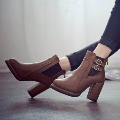 Wanita Tebal With Sini dan Mereka Hak Tinggi Sepatu Bot Ankle Boots Fashion Ladies Tinggi Sepatu