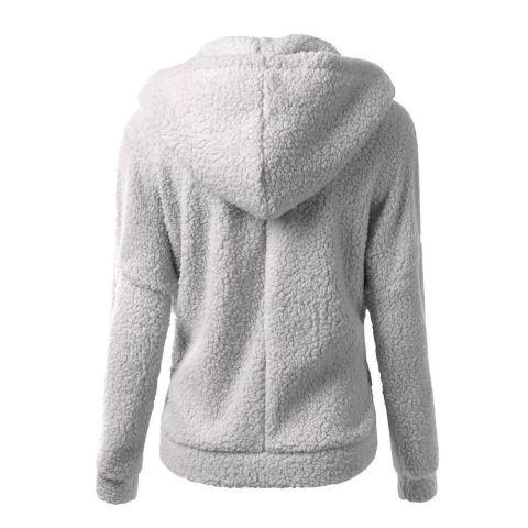 Perempuan menebalkan bulu mantel musim dingin yang hangat jaket mantel jaket bertudung pakaian bersepeda - Internasional
