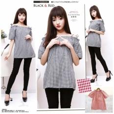 xavier blouse katilyn hitam Blouse Lengan pendek / Blouse Kotak Polos Cewek / Hem Kemeja Baju Wanita Fashion Bangkok / Blus Korean Style / Blouse Wanita Modern / blus wanita terbaru
