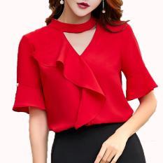 Xavier blouse trendy casual Merah Blouse Lengan panjang / blus jumbo / blus big size / Blouse Polos Cewek / Hem Kemeja Baju Wanita Fashion Bangkok / Blus Korean Style / Blouse Wanita Modern / blus wanita terbaru