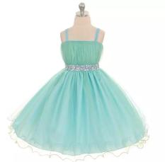 Xia Hua Anak Rok Flared Gaun Pengantin BH Gaun Kecil (Light Blue)
