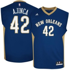 XXL Basketball Jersey NBA #42 New Orleans Pelicans Alexis Ajinca For Men Breathable Authentic Adult Official Chase Fashion Top Navy Blue - intl