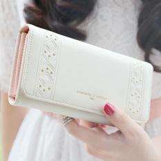 YADAS Jepang dan Korea Selatan perempuan ritsleting klip dompet wanita wallet (Off-white)