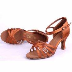 Yashion Fashion Wanita Sepatu Dansa Modern Ballroom Latin Salsa TANGO Sepatu For Dancing With (coklat)