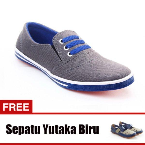 Yutaka Sepatu Kets Sneakers Abu-abu - Biru Gratis SP30-Biru