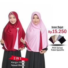 Zannah Hijab Jilbab 2 Warna Jilbab Instan Bolak Balik atau Inner Rajut | Hijab Instant Kerudung Syari Bergo Panjang Instan Paling Murah Instant Modern Jaman Now