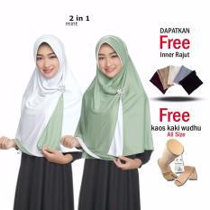 Zannah HIjab Kerudung Instan Bolak Balik Termurah Harga Grosir Jilbab Instan Jumbo Syari Hijab 2 in 1 Ukuran Besar Fashion Muslim Terbaru Muslimah Wanita Model Sekarang Atasan Wanita Dress Elegan Formal Dress Gamis Polos + Free Inner + Kaos Kaki