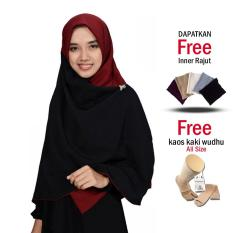 Zannah Hijab New Daily Hijab Murah Jilbab Segi4 Kombinasi Segi Empat Persegi Segiempat Dua Warna Kanan dan Kiri Atasan Dress Gamis Syari Untuk Wanita Muslimah Ibu Pengajian Bahan Wolfis Premium Grade A - Free Inner & Kaos Kaki Wudhu