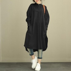 ZANZEA Plus M-5XL Womens Lengan Panjang Longgar Casual Shirt Tops Blus Kaos Kaftan Gaun Hitam-Intl