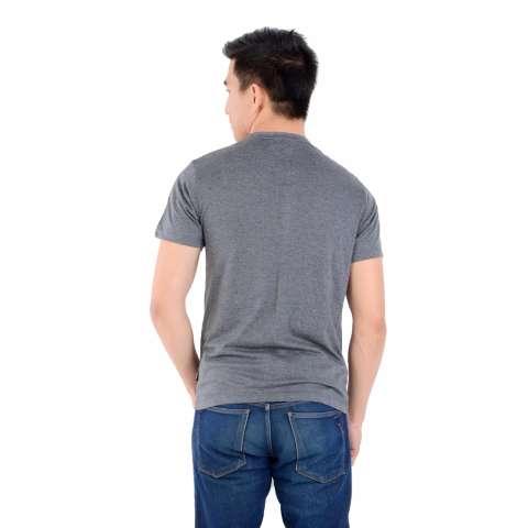 Zos Kaos T-Shirt Distro Atasan Pria Lengan Pendek V Neck - Abu Tua