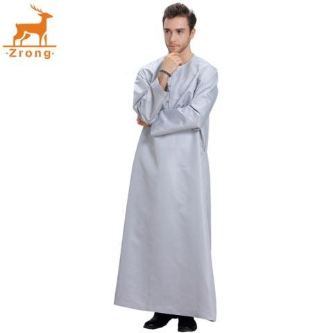 Zrong TH808 Laki-laki Modis Muslim Arab Timur Tengah Lengan Panjang Polos Warna Robe (Grey)-Internasional 1