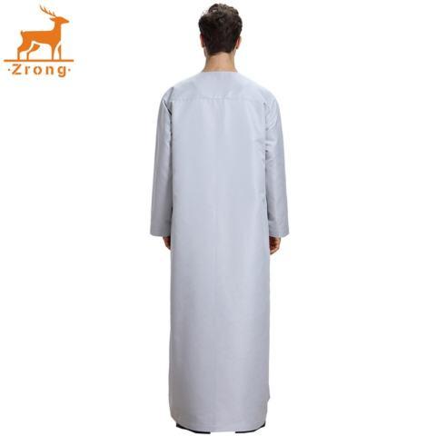 Zrong TH808 Laki-laki Modis Muslim Arab Timur Tengah Lengan Panjang Polos Warna Robe (Grey)-Internasional 3