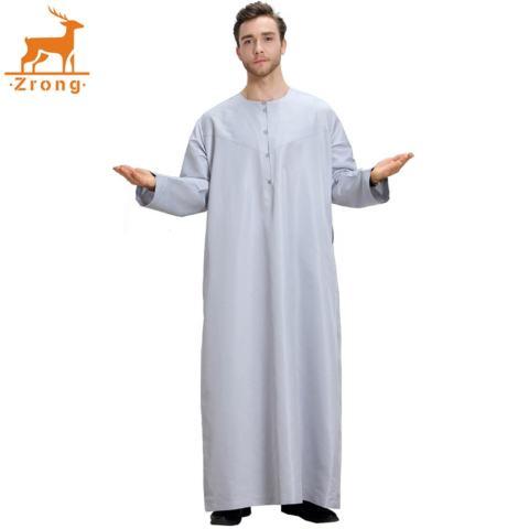 Zrong TH808 Laki-laki Modis Muslim Arab Timur Tengah Lengan Panjang Polos Warna Robe (Grey)-Internasional 2