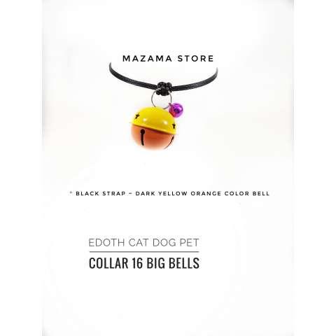 1 Pcs EDOTH Cat Dog Pet Collar 16 Big Bells Dark Yellow & Orange Bells Colors / Kalung Kucing / Kalung Anjing / Aksesoris Kucing Anjing / Aksesoris Hewan ...