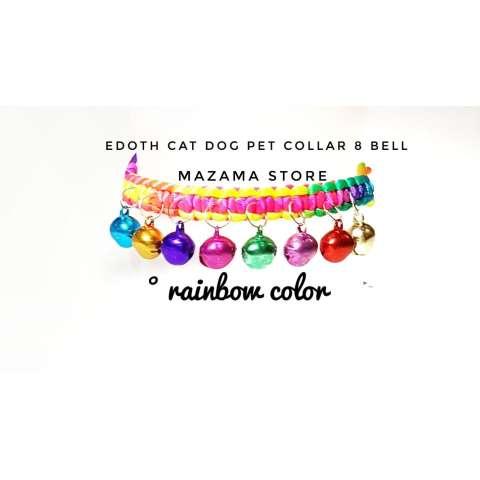 1 pc EDOTH Cat Dog Pet Collar 8 Bells Rainbow Colors / Kalung Kucing Anjing /