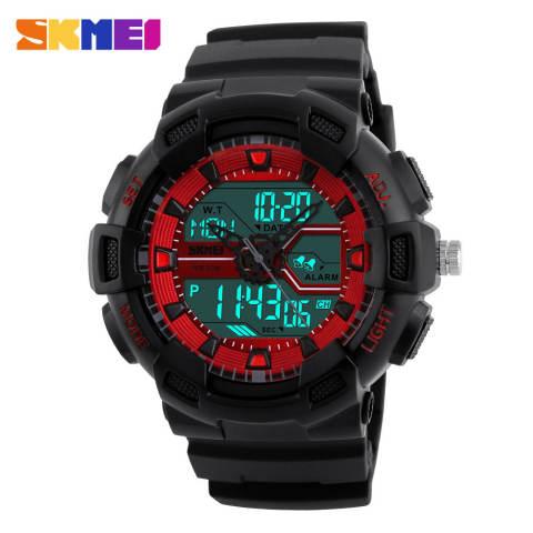 [100% Asli] SKMEI Pria Jam Tangan Olahraga Dual Display Digital Analog LED Jam Tangan Elektronik Merek QUARTZ Watches 50 M Tahan Air Jam Tangan Renang 1