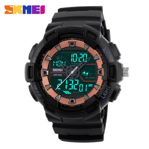 [100% Asli] SKMEI Pria Jam Tangan Olahraga Dual Display Digital Analog LED Jam Tangan Elektronik Merek QUARTZ Watches 50 M Tahan Air Jam Tangan Renang 2