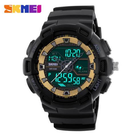 [100% Asli] SKMEI Pria Jam Tangan Olahraga Dual Display Digital Analog LED Jam Tangan Elektronik Merek QUARTZ Watches 50 M Tahan Air Jam Tangan Renang 3