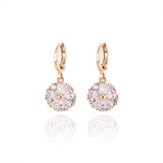 18 K Emas Asli Platinum Plating Halus Zircon Earrings-Intl