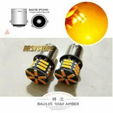2 BIJI Lampu Sein Sen LED 7014 21 mata BAU15S Bayonet Mobil ARSYSTORE - Kuning Amber