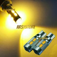 2 Biji Lampu Led Motor Mobil Sein Sen Senja 10 Titik 5730 Lensa Proyektor Soket Metal T10 W5W Arsystore ARSY - Kuning