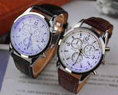 2 Pcs Yazole 271 Pria Bisnis Jam Tangan Stainless Steel QUARTZ Leather Band Watch (Putih Hitam, Putih Brown) -Intl