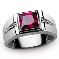 2.6ct Baru Fashion Perhiasan RUBY/ZIRCON BATU 18KT Emas PUTIH Disepuh Wedding Ring Hadiah Ukuran 7 untuk 15 # GR2188-Intl