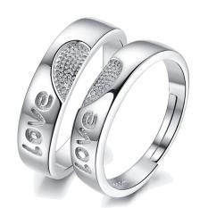 2 Pcs Adjustable Beberapa Cincin Jewellry 925 Perak Adjustable Pecinta Cincin Perhiasan E009-Intl