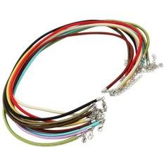 AC 10 Pcs DIY Perhiasan Multi Warna Karet Tali Kalung String dengan Logam Gesper-Intl
