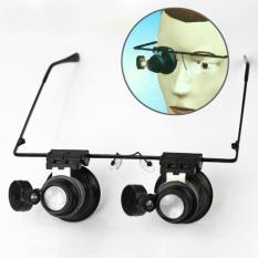 AC Eyeglasses Jeweler 20X Magnifier Magnifying Glass Loupe LED Light Watch Repair - intl