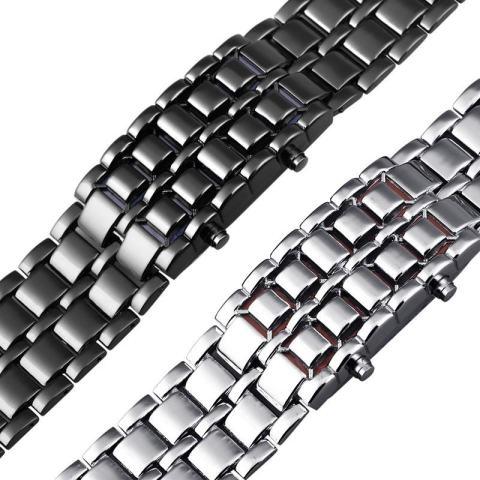 Aidis Tahan Air Elektronik Generasi Kedua Biner LED Digital Watch Pria Lava Stainless Steel Gelang -