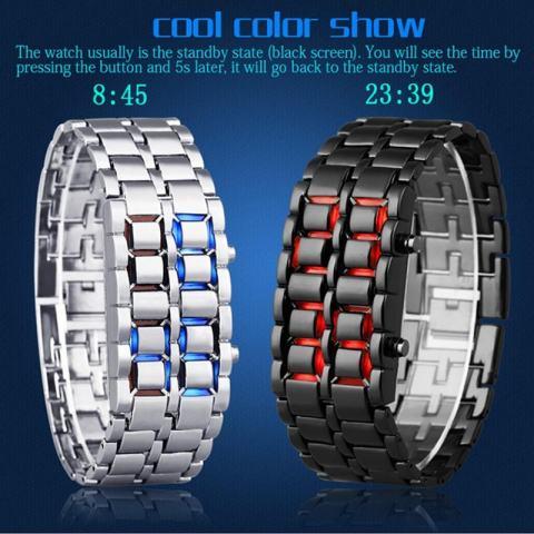 Aidis Tahan Air Elektronik Generasi Kedua Biner LED Digital Watch Pria Lava Stainless Steel Gelang Biru Hitam-Intl