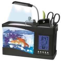 Ajusen USB Desktop Elektronik Aquarium Mini Tangki Ikan Lampu dengan Air Mengalir LED Pump Light Kalender Waktu Alarm Clock untuk Home Office Decor-Intl