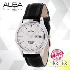Alba Analog AXND63X1 Jam Tangan Pria - Strap Leather - White Black