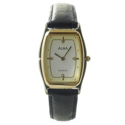 ALBA Jam Tangan Pria - Black Silver Gold - Leather Strap - ATAK92