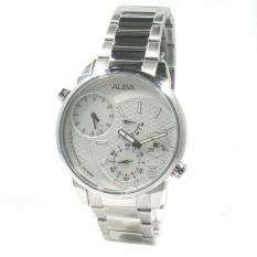 Alba Man A2A005X1 Quartz Dual Time White Dial - Jam Tangan Pria A2A005