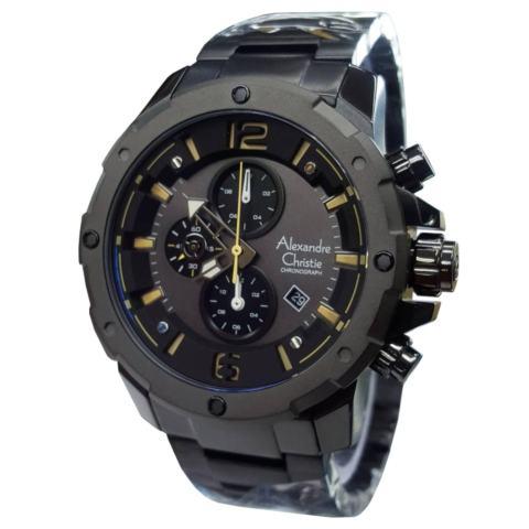 Alexandre Christie AC6410 Jam Tangan Pria Stainless Steel hitam list kuning