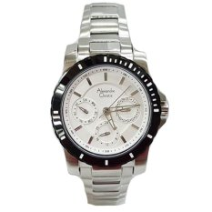 Alexandre Christie - Jam Tangan Couple - Stainless Steel - AC 6141 Silver Black Ladies