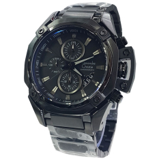 Alexandre Christie - Jam Tangan Pria - Staibless Steel - Black - AC 6225 MC Black Man